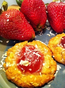 Vegan Strawberry Thumbprint Anzac Cookies